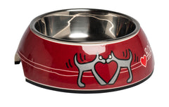 Rogz 2-in-1 Bubble Dog Bowl (Red Heart Design)