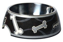 Rogz 2-in-1 Bubble Dog Bowl (Black Bone Design)