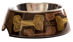 Rogz 2-in-1 Bubble Dog Bowl (Mocha Bone Design)