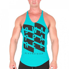 BW ATHLETIC MENS ZIG ZAG STRINGER VEST [TURQUOISE]