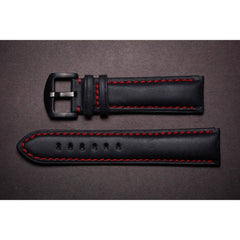 Premium Leather Strap Black / Red
