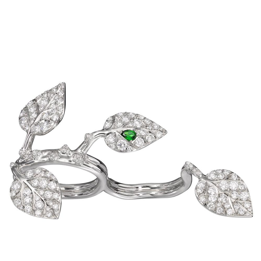 White Gold. White Diamonds. Set with a vivid pear shaped tsavorite, the signature of Crow's Nest jewels.