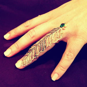 Brown Diamonds Feather Ring