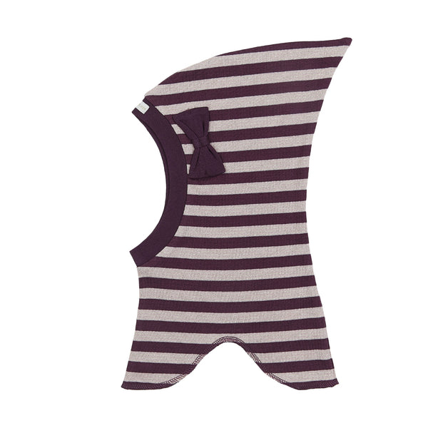 Organic Striped Single Layer Cotton Balaclava with Top and Bow 545006-3192 C2020