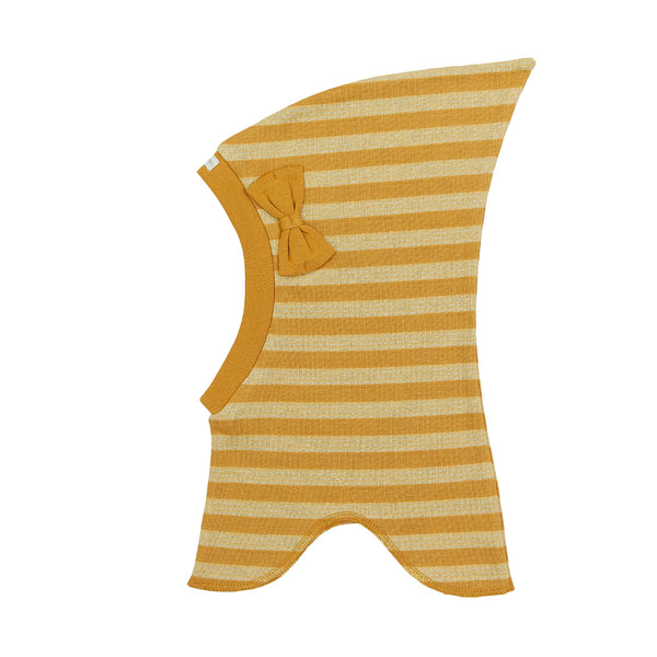Organic Striped Single Layer Cotton Balaclava with Top and Bow 545006-8995 C2020