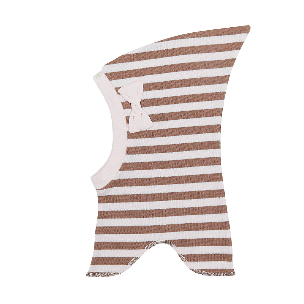 Organic Striped Single Layer Cotton Balaclava with Top and Bow 545006-9130 C2020