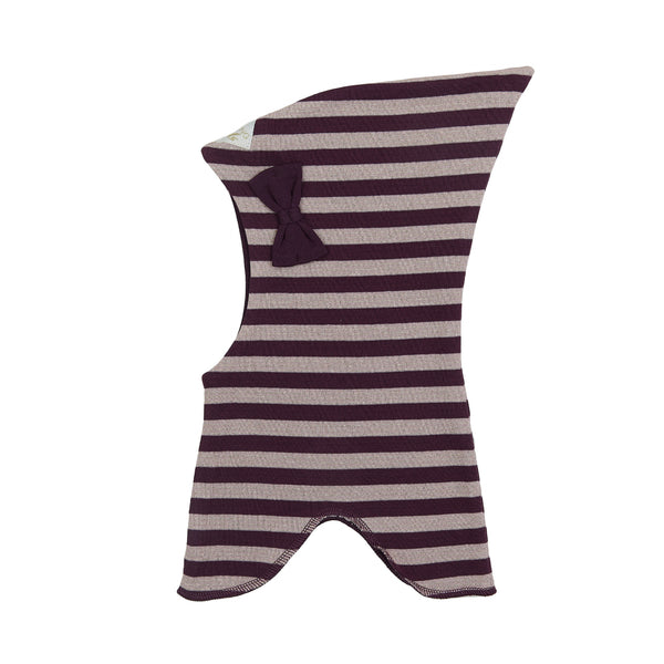 Organic Striped Double Layer Cotton Balaclava with Top and Bow 545001-3192 C2020