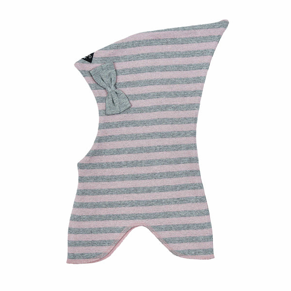 Striped Double Layer Cotton Balaclava with Bow 545001-9094