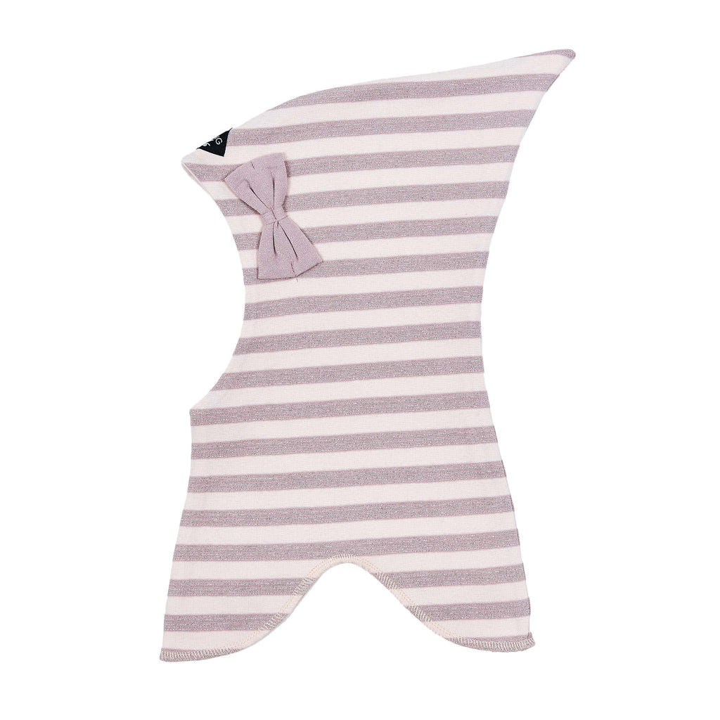 Striped Double Layer Cotton Balaclava with Bow 545001-9190
