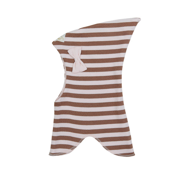 Organic Striped Double Layer Cotton Balaclava with Top and Bow 545001-9130 C2020
