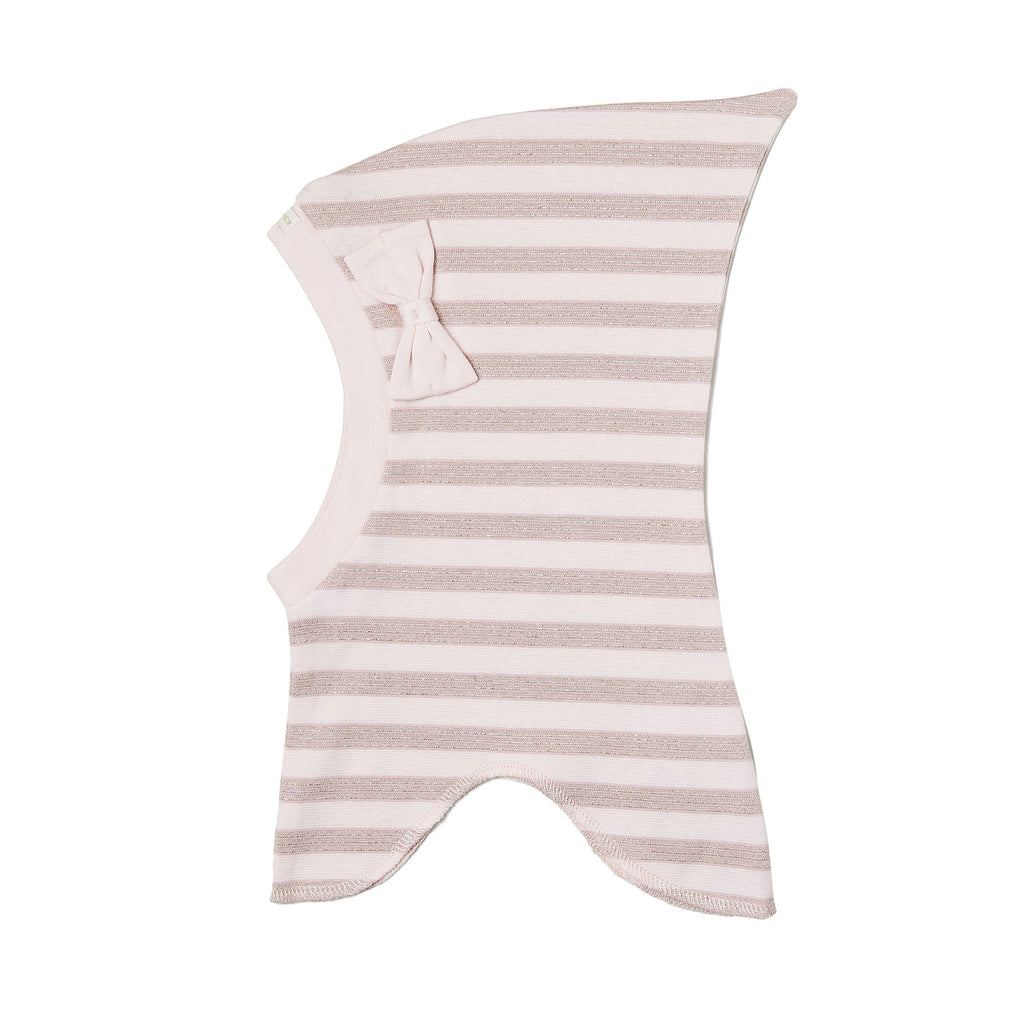 Organic Striped Single Layer Cotton Balaclava with Top and Bow 545006-9192 C2020