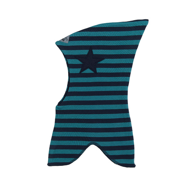 Organic Striped Double Layer Cotton Balaclava with Top and Star 547101-1445 C2020