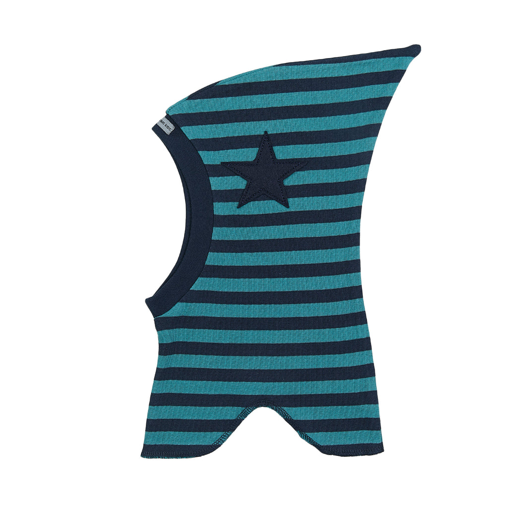 Organic Striped Single Layer Cotton Balaclava with Top and Felt Star 547106-1445 C2020