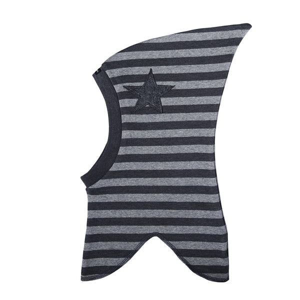 Striped Single Layer Cotton Balaclava with Top and Felt Star 547106-3534