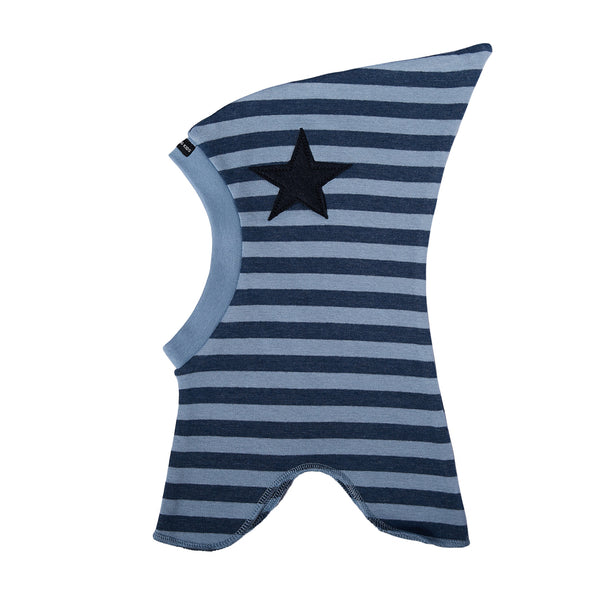 Striped Single Layer Cotton Balaclava with Top and Felt Star 547106-4338
