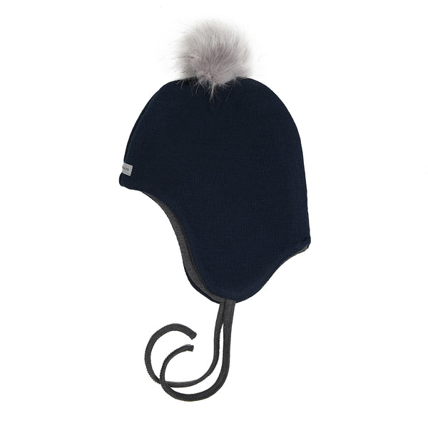 Wool Baby Aviator Helmet with Pompom 609004-14 AW18