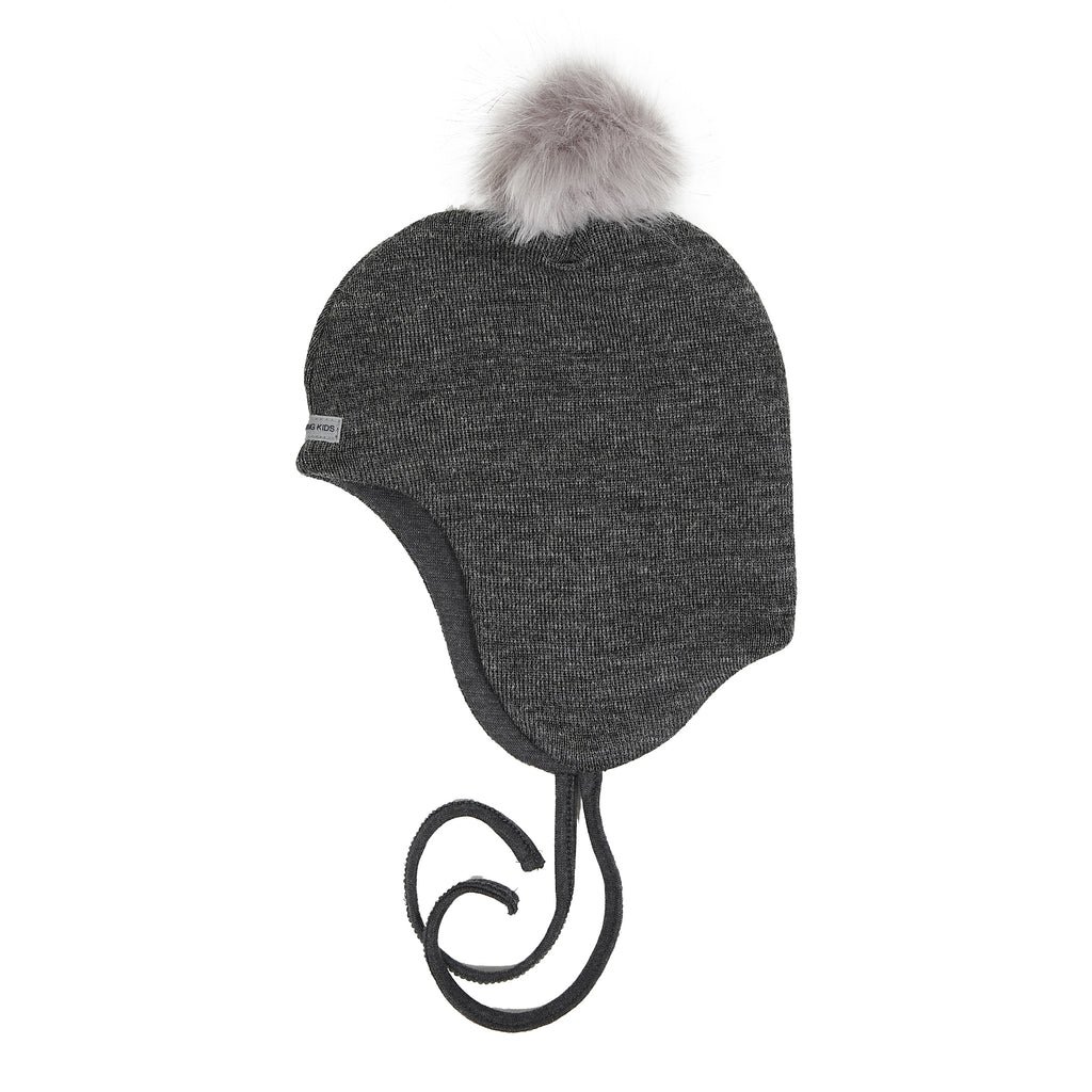 Wool Baby Aviator Helmet with Pompom 609004-35 AW19