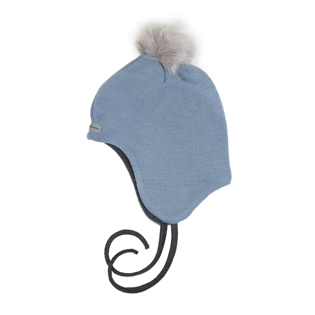 Wool Baby Aviator Helmet with Pompom 609004-43 AW18