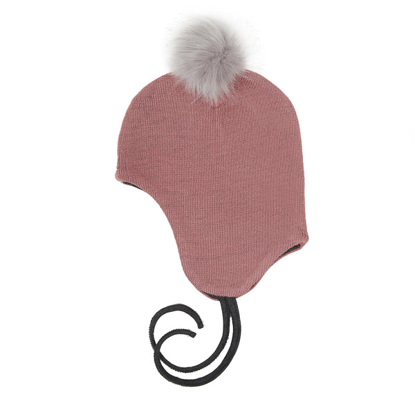 Wool Baby Aviator Helmet with Pompom 609004-55 AW18