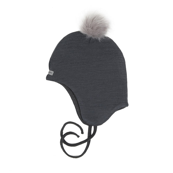Wool Baby Aviator Helmet with Pompom 609004-84 AW18