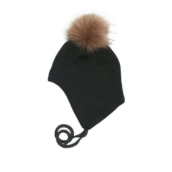 Wool Baby Aviator Helmet with Pompom 609004-88 AW19