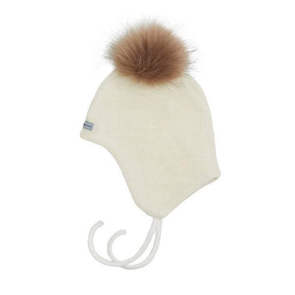Wool Baby Aviator Helmet with Pompom 609004-01d AW19