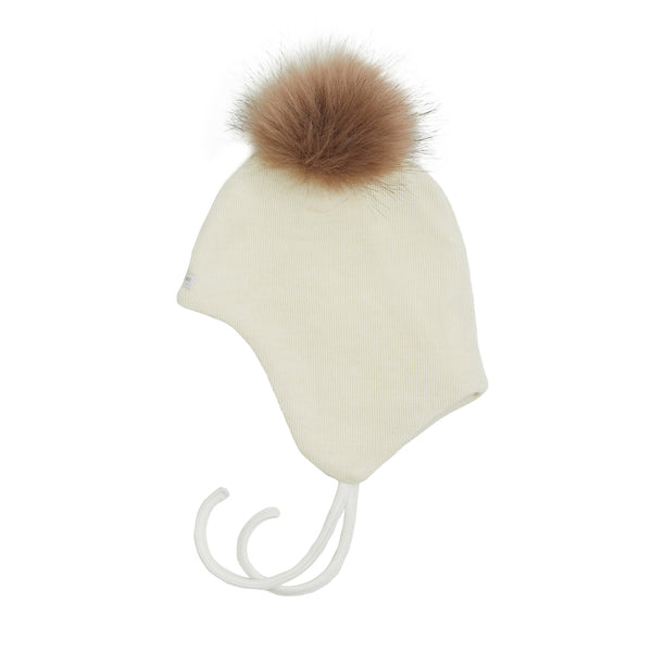 Wool Baby Aviator Helmet with Pompom 609004-01p AW19
