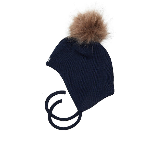 Wool Baby Aviator Helmet with Pompom 609004-14 AW19