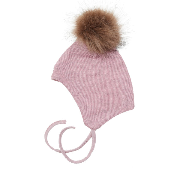 Wool Baby Aviator Helmet with Pompom 609004-21 AW19