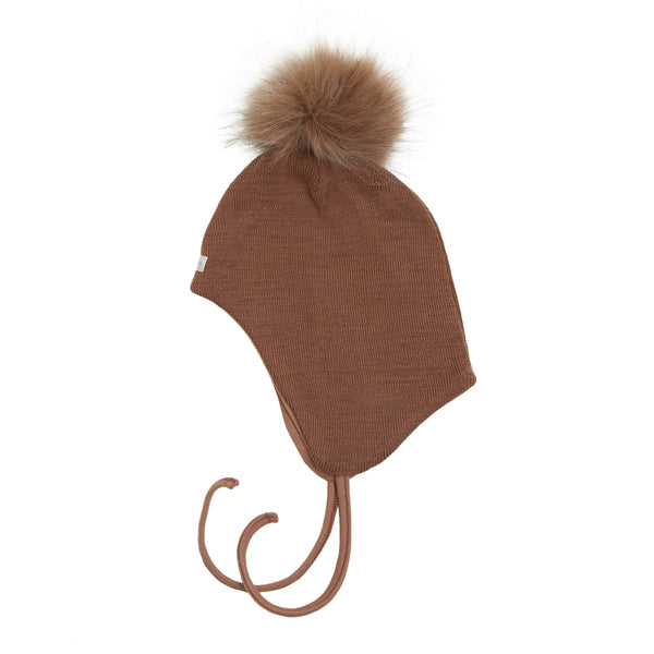 Wool Baby Aviator Helmet with Pompom 609004-30p AW19