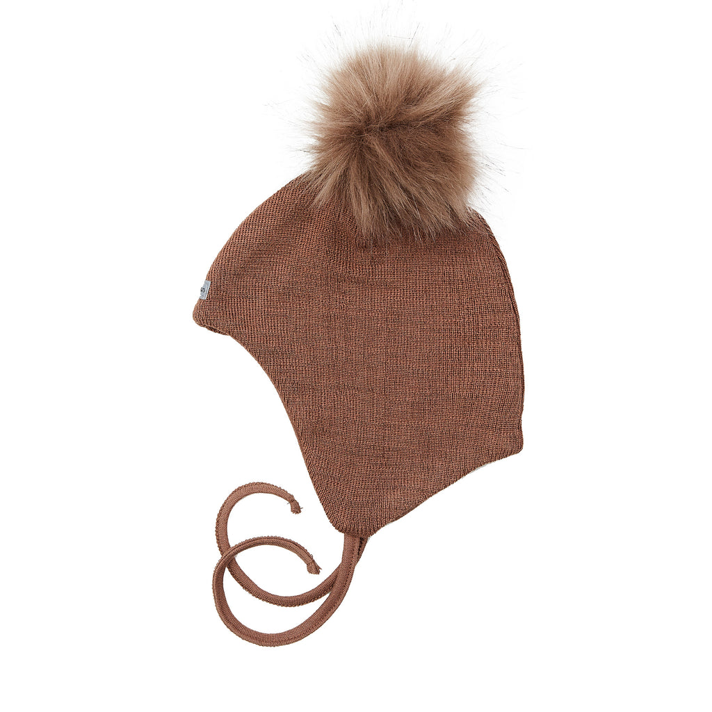 Wool Baby Aviator Helmet with Pompom 609004-30d AW19
