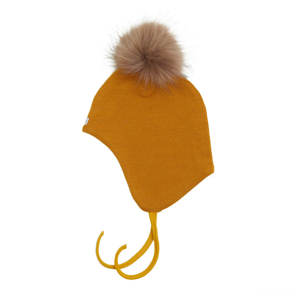 Wool Baby Aviator Helmet with Pompom 609004-89p AW19