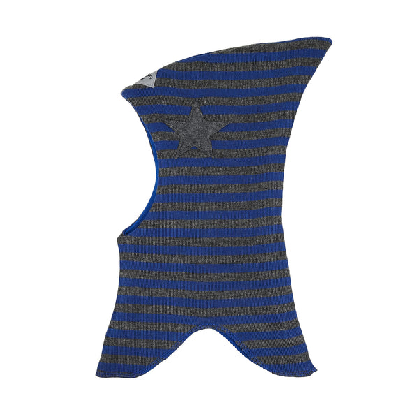 Wool striped Balaclava with top with filt star 647101-8335