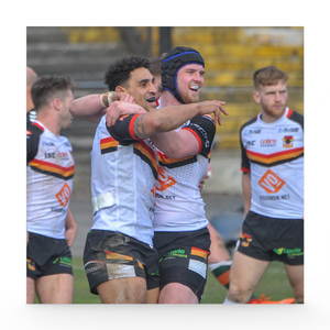 Hunslet (H) Dalton Grant and Liam Johnson celebrate