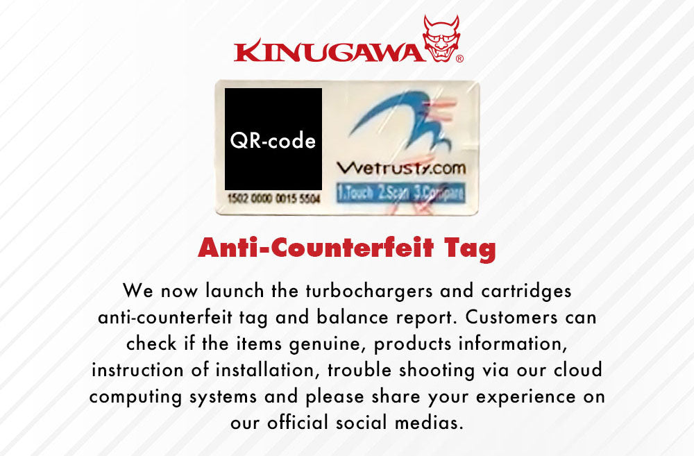 Kinugawa Turbo Systems Anti-Counterfeit Tag