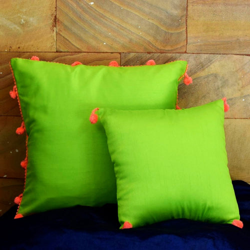 Pompom! Neon Green | Cushion Cover