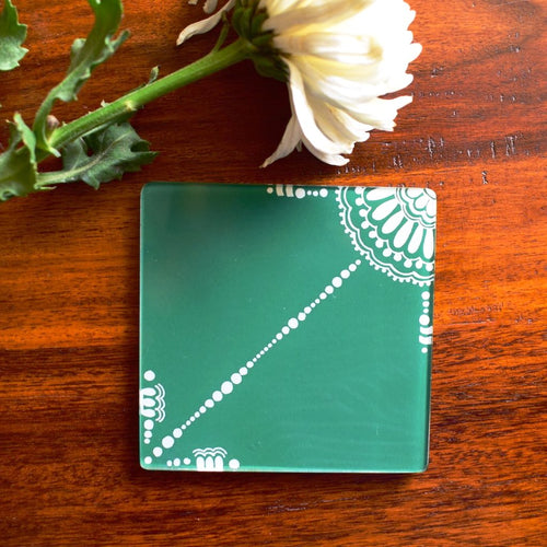 Green and White Doodle | Coaster