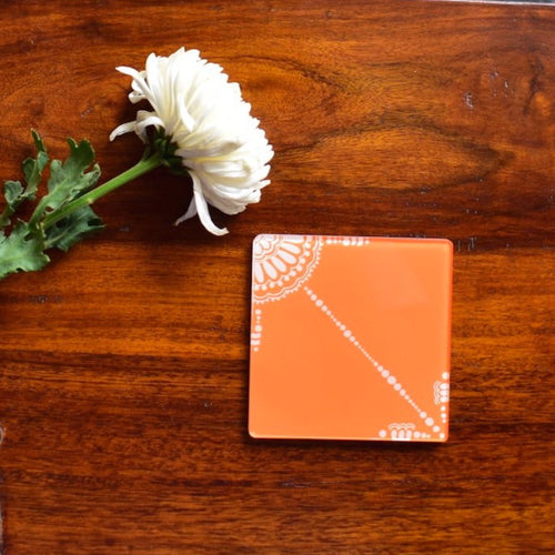 Orange and White Doodle | Coaster