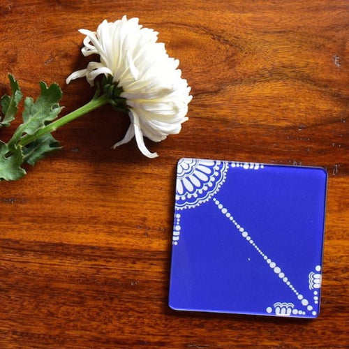 Blue and White Doodle | Coaster