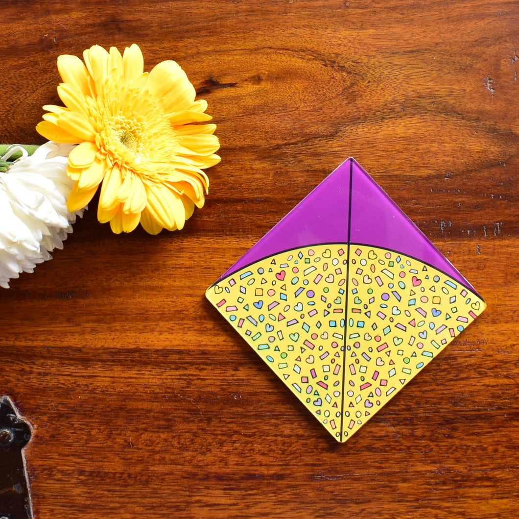 Purple Yellow Patang! | Coaster