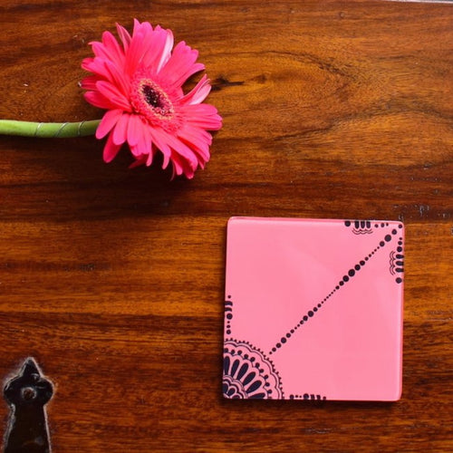 Pink and Black Doodle | Coaster