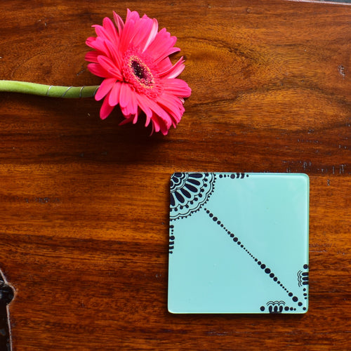 Sea Blue and Black Doodle | Coaster