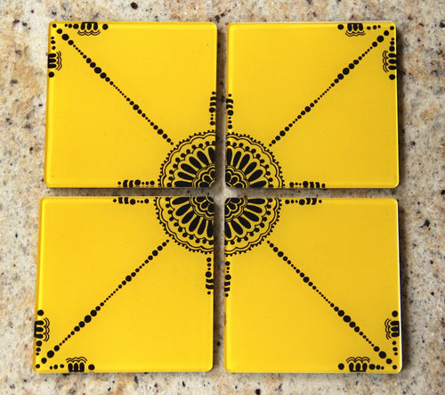 The Yellow Flower | Coaster - Set of 4