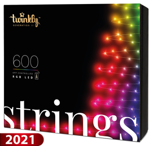 Twinkly 600 LED String Lights - Generation II - Green Wire, 157.5 ft Long