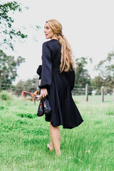 Paris Faux Wrap Midi Dress - Black