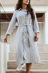 charcoal-black-stripped-shirt-dress-mid-length-midi-long-sleeved-sleeve-modest