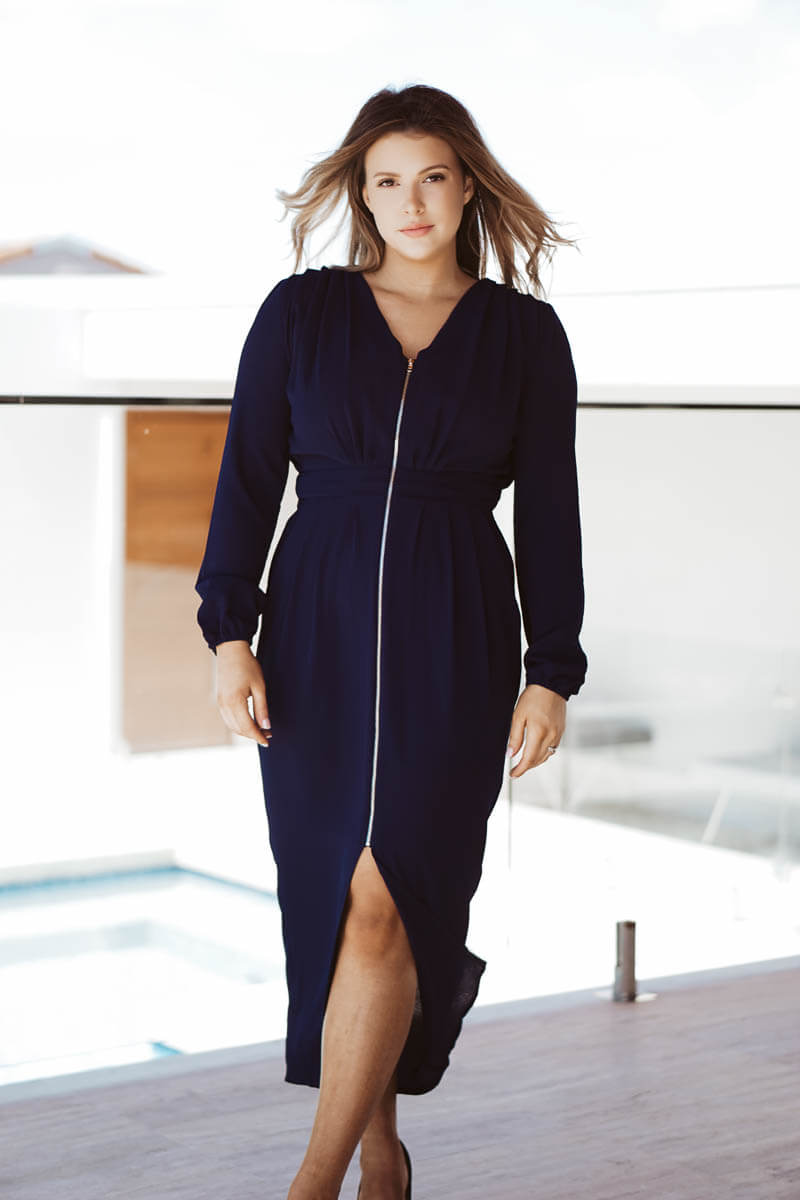 Malinda Zip Dress - Navy