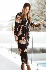 Malinda Zip Dress - Black Floral