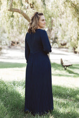 Meghan Pleated Maxi - Navy