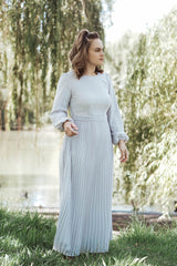 Meghan Pleated Maxi - Silver/Grey